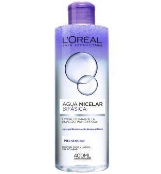 agua micelar bifasica para pieles sensibles loreal